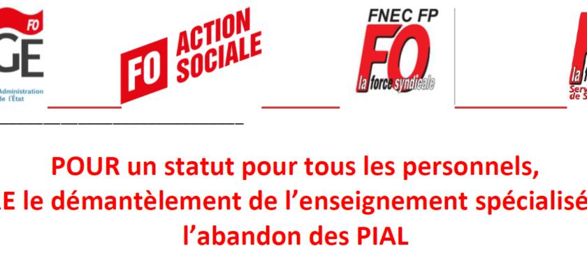 ASH et AESH : communiqué interfédéral FAGE-FO, FNAS-FO, FNEC-FP FO et FSPS-FO